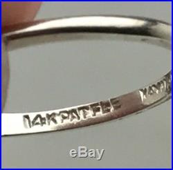 Antique 14K White Gold Diamond Wedding Engagement Ring Set Vintage Rings Estate