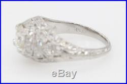 Antique $18,000 1920s 2ct VS Old Euro Diamond Platinum Filigree Wedding Ring