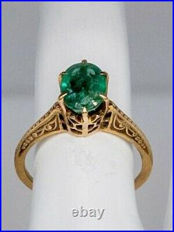 Antique 1920s $4000 2ct AAA+++ Colombian Emerald 10k Yellow Gold Wedding Ring