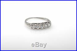 Antique 1930s 1ct Old Euro 5 Stone Diamond 14k White Gold Wedding Band Ring