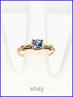 Antique 1930s $2400 1ct Ceylon Blue Sapphire 10k Yellow Gold Wedding Ring