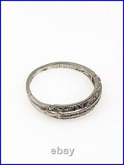 Antique 1930s 3 ROW. 75ct VS G Diamond 5mm Platinum Wedding Band Ring