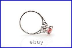 Antique 1930s $5000 ART DECO 1.50ct Natural Pink Orange Platinum Wedding Ring