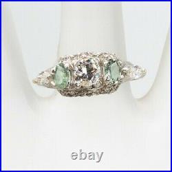 Antique 1930s $6000 2ct Natural Diamond Alexandrite Platinum Wedding Band Ring