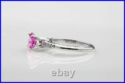 Antique 1930s $6000 2ct Natural Pink Sapphire Diamond Platinum Wedding Ring