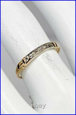 Antique 1930s VS G Diamond 14k Yellow White Gold Wedding Band Ring