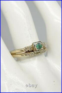 Antique 1940.35ct Natural Russian Alexandrite Diamond 14k Gold Wedding Ring SET