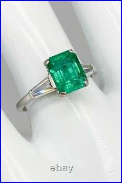 Antique 1940 $6000 2.40ct AAA+++ Colombian Emerald Diamond Platinum Wedding Ring