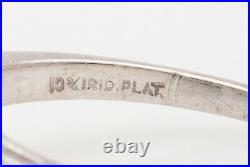 Antique 1940s $10K 10ct Natural Blue Zircon Diamond Platinum Wedding Ring RARE