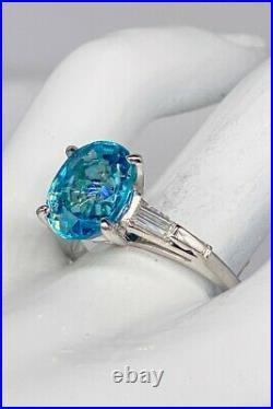 Antique 1940s $10,000 12ct Natural Blue Zircon Diamond Platinum Wedding Ring