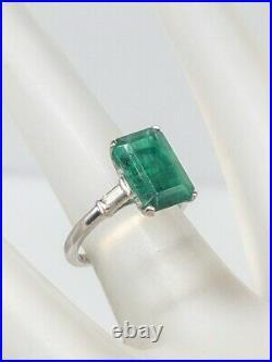Antique 1940s $10,000 4ct AAA+++ Colombian Emerald Diamond Platinum Wedding Ring