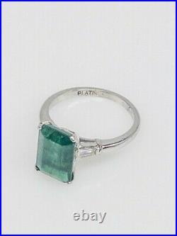 Antique 1940s $10,000 6ct AAA+++ Colombian Emerald Diamond Platinum Wedding Ring