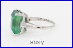 Antique 1940s $15,000 8.40ct Colombian Emerald Diamond Platinum Wedding Ring