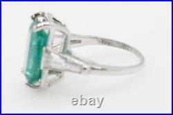 Antique 1940s $15,000 8ct Colombian Emerald Diamond Platinum Wedding Ring