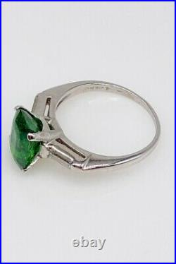 Antique 1940s $24,000 5.40ct Tsavorite Garnet Diamond Platinum Wedding Ring