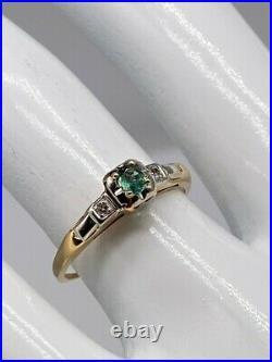 Antique 1940s. 33ct Natural Alexandrite Diamond 14k Yellow Gold Wedding Ring