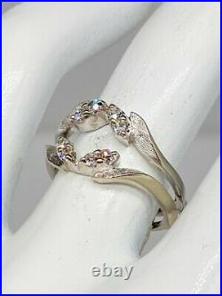 Antique 1940s. 33ct VS G Diamond 14k White Gold Wedding Ring GUARD Wrap RARE