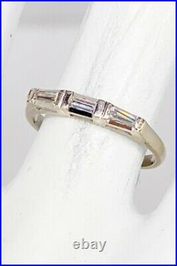 Antique 1940s 3 Baguette VS G Diamond. 50ct 14k White Gold Wedding Band Ring