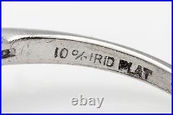 Antique 1940s 3ct Old Cut Natural Blue Sapphire Diamond Platinum Wedding Ring