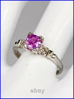 Antique 1940s $4000 1.15ct Natural Pink Sapphire Diamond Platinum Wedding Ring