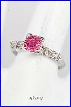 Antique 1940s $4000 1.27ct Natural PINK Sapphire Diamond Platinum Wedding Ring