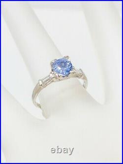 Antique 1940s $4000 1.50ct Ceylon Blue Sapphire Diamond Platinum Wedding Ring