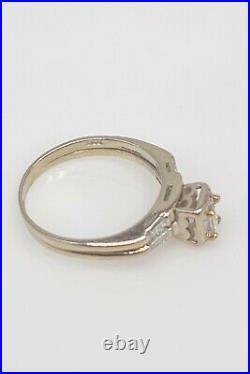 Antique 1940s $4000 1ct VS H Emerald Cut Diamond 14k White Gold Wedding Ring SET