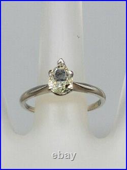 Antique 1940s $5000 1ct Pear Cut SI1 J Diamond Platinum Wedding Ring