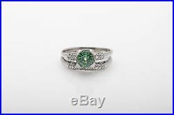 Antique 1940s $5000 2ct Natural Green Sapphire Diamond Platinum Wedding Ring Set