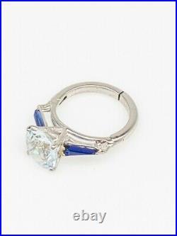 Antique 1940s $5000 6ct Natural Aquamarine Blue Sapphire Platinum Wedding Ring