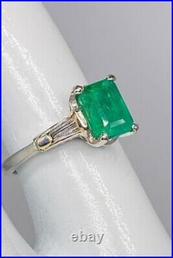 Antique 1940s $6000 3ct Colombian Emerald Diamond Platinum Wedding Ring