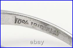 Antique 1940s $6000 4ct Colombian Emerald Diamond Platinum Wedding Ring FREE SZ