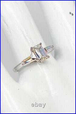 Antique 1940s $7000 1.32ct VS Natural Emerald Cut Diamond Platinum Wedding Ring