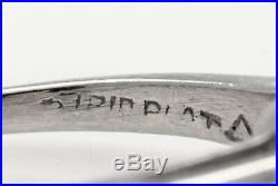 Antique 1940s $7000 1.50ct Natural Cushion Cut Diamond Platinum Wedding Ring