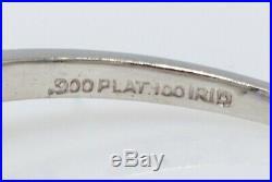 Antique 1940s $7000 1.55ct VS H Emerald Cut Diamond Platinum Wedding Ring