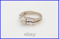 Antique 1940s $7000 2ct Old Cushion Cut Diamond 14k White Gold Wedding Ring Set