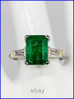 Antique 1940s $7000 3.40ct Colombian Emerald Diamond Platinum Wedding Ring