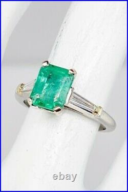 Antique 1940s $7000 3ct Colombian Emerald Diamond Platinum Wedding Ring