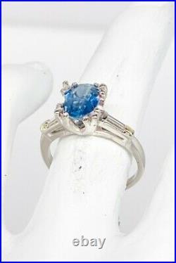Antique 1940s $7000 3ct Natural Blue Sapphire Diamond Platinum Wedding Ring