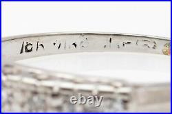 Antique 1940s 7 Diamond 18k White Gold Wedding Band Ring