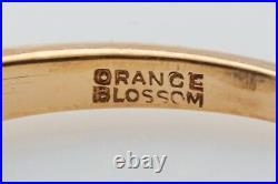 Antique 1940s Orange Blossom Signed TRAUB 3 Diamond 14k Gold Wedding Band Ring