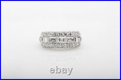 Antique 1950 $4000 1.50ct VS G Baguette Round Diamond Platinum Wedding Band Ring