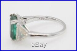 Antique 1950s $15K 6ct Colombian Emerald Trillion Diamond Platinum Wedding Ring