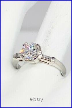Antique 1950s $15,000 2ct Round Brilliant Diamond Platinum Wedding Ring