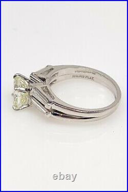 Antique 1950s $20,000 3ct Cushion Cut VS2 L Diamond Platinum Wedding Ring SET