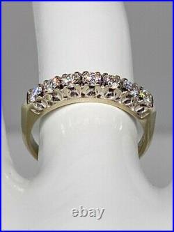 Antique 1950s $2400 7 Diamond. 75ct 14k White Gold Wedding Band Ring
