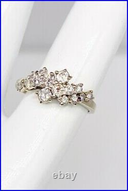 Antique 1950s $3000 1ct SI1 VS2 Diamond 14k White Gold CLUSTER Wedding Band Ring