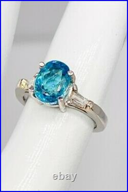 Antique 1950s $4000 4.35ct Natural Blue Zircon Diamond Platinum Wedding Ring
