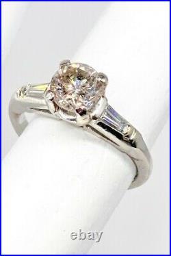 Antique 1950s $5000 1.51ct Natural Champagne Diamond Platinum Wedding Ring