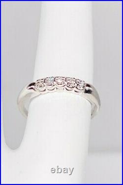 Antique 1950s 5 VS G Diamond 14k White Gold Wedding Band Ring